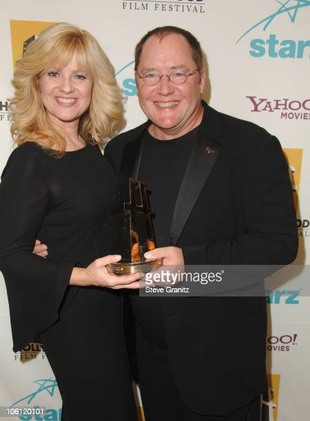 Bonnie Hunt and John Lasseter during Hollywood Film Festival 10th Annual Hollywood Awards Press Room at The Beverly Hilton Hotel in Beverly Hills...