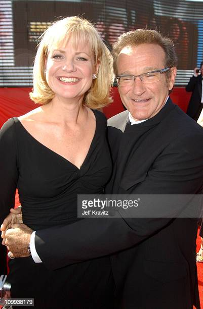 Bonnie Hunt and Robin Williams during 55th Annual Primetime Emmy Awards Red Carpet at The Shrine Auditorium in Los Angeles California United States
