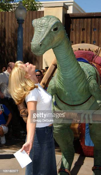 Bonnie Hunt Lucky the Dinosaur during ABC Primetime Preview Weekend at Disney's California Adventure in Anaheim California United States