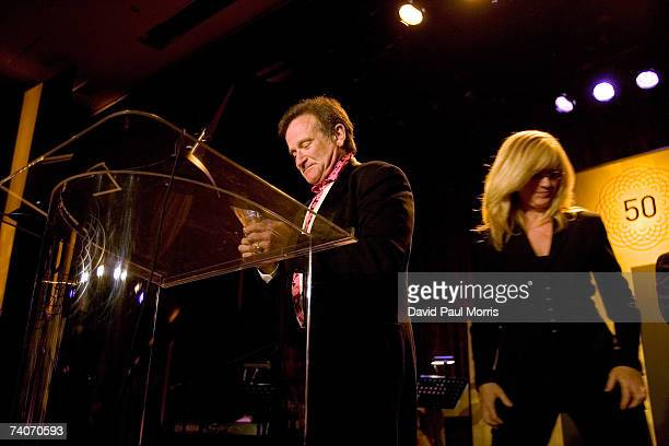 Bonnie Hunt presents the Peter J Owens award to Robin Williams at the San Francisco International Film Festival awards night at the Westin St Francis...