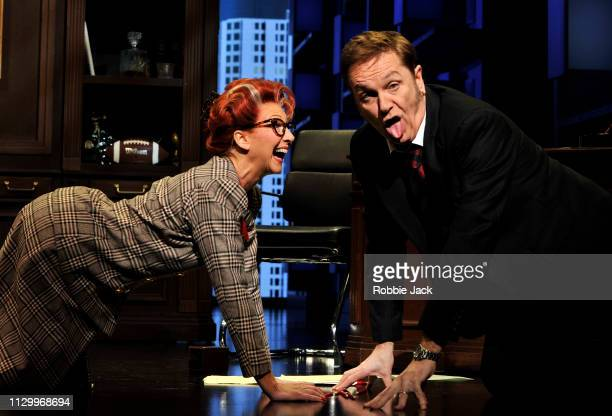 Bonnie Langford as Roz Keith and Brian Conley as Franklin Hart in 9 To 5 The Musical directed by Jeff Calhoun at The Savoy Theatre on February 14...