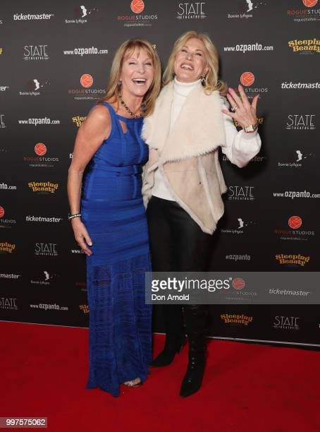 Bonnie Lithgoe and KerriAnne Kennerley arrive for opening night of Sleeping Beauty A Knight Avenger's Tale at State Theatre on July 13 2018 in Sydney...