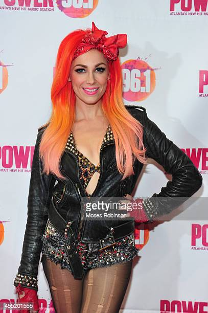 Bonnie McKee poses backstage at Power 961's Jingle Ball 2013 at Philips Arena on December 11 2013 in Atlanta Georgia