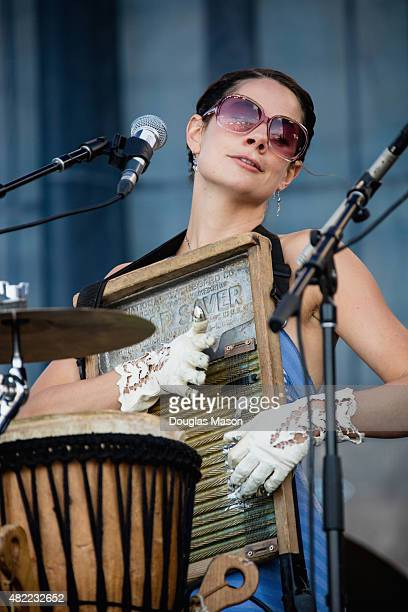 Bonnie Paine of Elephant Revival performs during the Newport Folk Festival 2015 at Fort Adams State Park on July 24 2015 in Newport Rhode Island