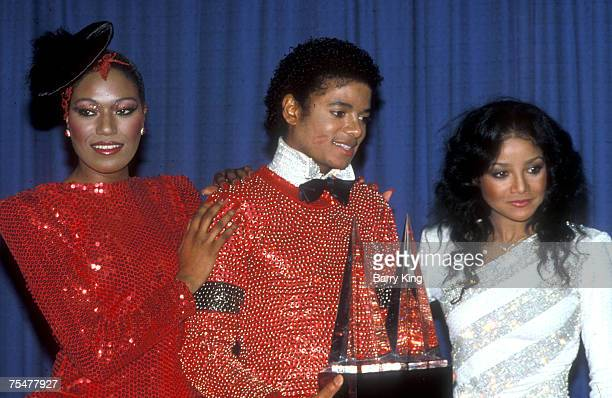 Bonnie Pointer Michael Jackson LaToya Jackson at the American Music Awards at the Shrine Auditorium in Los Angeles California
