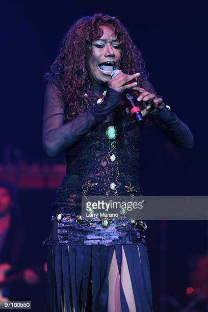 Bonnie Pointer performs at the 939 MIA Disco Ball at Hard Rock Live in the Seminole Hard Rock Hotel Casino on February 25 2010 in Hollywood Florida