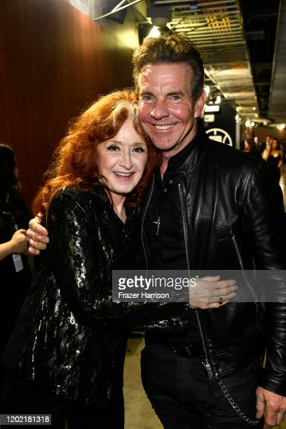 Bonnie Raitt and Dennis Quaid attends the 62nd Annual GRAMMY Awards at STAPLES Center on January 26, 2020 in Los Angeles, California.