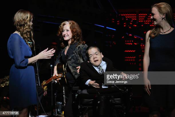 Bonnie Raitt on stage with kids from The Painted Turtle camp at the UCSF Medical Center and The Painted Turtle Present A Starry Evening of Music...