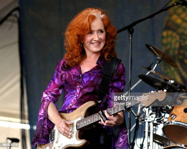 Bonnie Raitt performing with fender stratocaster at the New Orleans Jazz Heritage Festival on April 29 2007