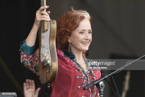 Bonnie Raitt performs during the 2018 New Orleans Jazz Heritage Festival at Fair Grounds Race Course on April 28 2018 in New Orleans Louisiana