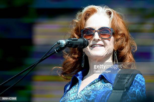 Bonnie Raitt performs on stage as Barclaycard present British Summer Time Hyde Park at Hyde Park on July 15 2018 in London England