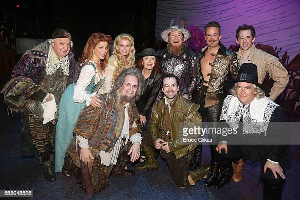 "Bonnie Raitt poses with the cast backstage at the hit musical ""Something Rotten"" at The St. James Theatre on August 11, 2016 in New York City."