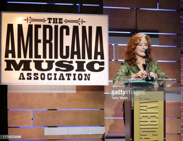 Bonnie Raitt speaks onstage during the 2019 Americana Honors Awards at Ryman Auditorium on September 11 2019 in Nashville Tennessee