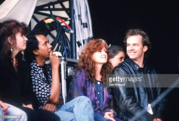 Bonnie Raitt with her husband watching the concert of Paul Simon, Torhout/Werchter Festival, Torhout, Belgium, 6 July 1991.