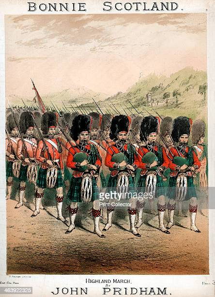Bonnie Scotland sheet music cover c1860 Kilted pipers of a Highland Guards regiment leading a march wearing busbies and sporrans Coloured lithograph...