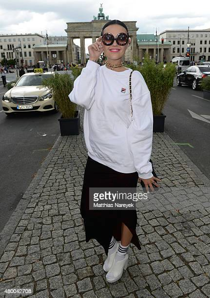 Bonnie Strange attends the Dimitri show during the MercedesBenz Fashion Week Berlin Spring/Summer 2016 at Brandenburg Gate on July 9 2015 in Berlin...