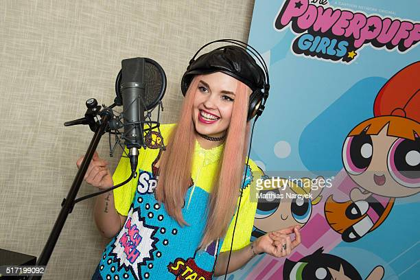 Bonnie Strange records the theme song for the Cartoon Network animation series 'Die Powerpuff Girls' at a dubbing studio on March 17 2016 in Berlin...