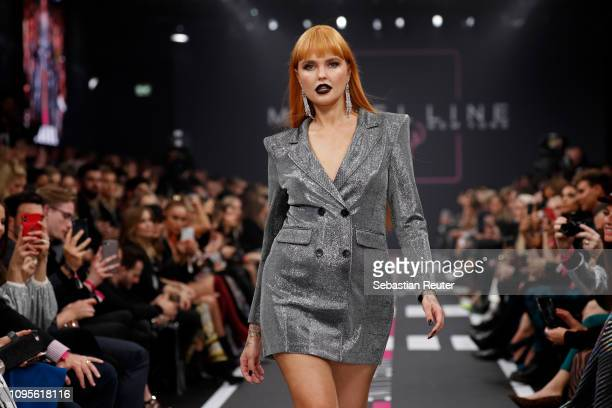 Bonnie Strange walks the runway at the Maybelline New York show 'Makeup that makes it in New York' during the Berlin Fashion Week Autumn/Winter 2019...