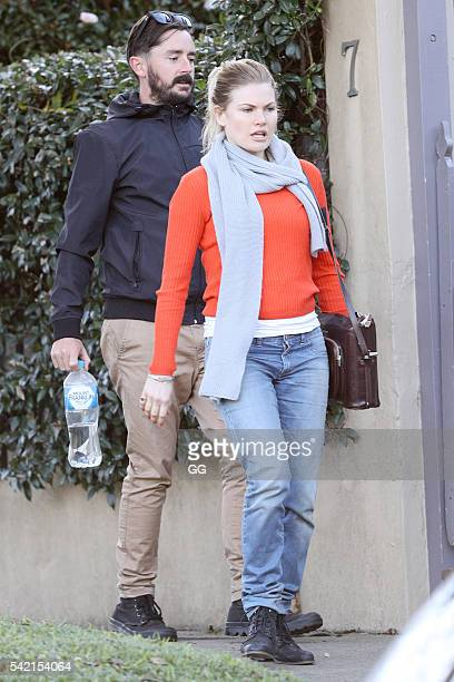 Bonnie Sveen and boyfriend Nathan Gooley are pictured visiting some friends on June 12 2016 in Sydney Australia