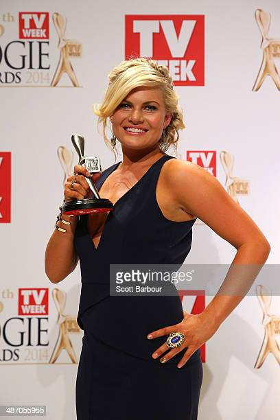 Bonnie Sveen poses in the awards room after winning a Logie for Most Popular New Talent at the 2014 Logie Awards at Crown Palladium on April 27 2014...