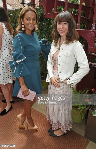 Bonnie Takhar President of Charlotte Olympia and Annie Morris attend a lunch to celebrate Veuve Clicquot by Charlotte Olympia at Mark's Club on June...