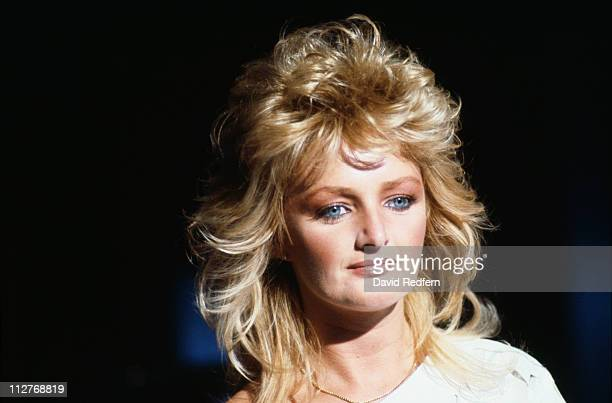 Bonnie Tyler British singer during a live concert performance at the Montreux Rock Festival in Montreux Switzerland 1984