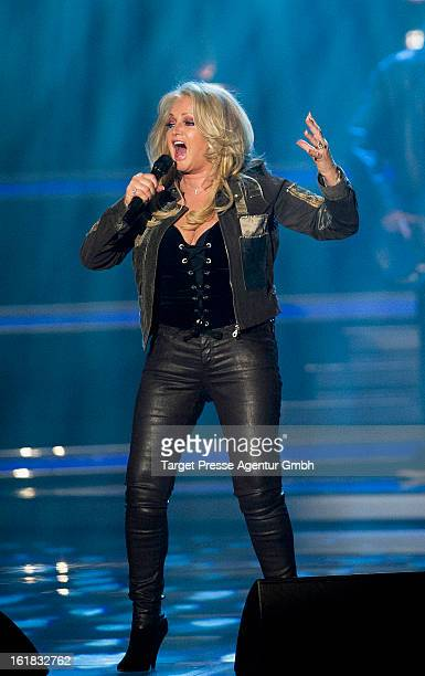 Bonnie Tyler performs during the 'Willkommen bei Carmen Nebel' 10 Years Anniversary Show at Velodrom on February 16 2013 in Berlin Germany