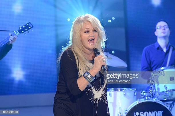 Bonnie Tyler performs on stage at 'Inka Bause Live' at Conrad Tack on April 19 2013 in Burg Germany on April 19 2013 in Burg Germany