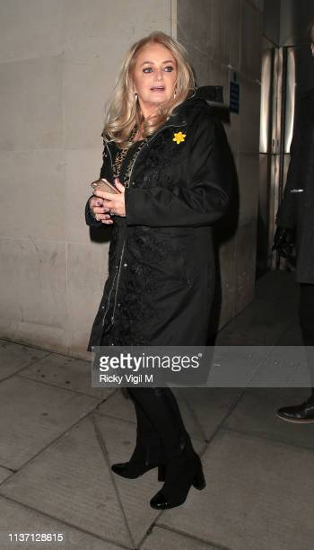Bonnie Tyler seen leaving The One Show on March 20, 2019 in London, England.
