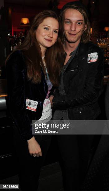 Bonnie Wright and Jamie Campbell Bower attend the afterparty following the cast change of 'Waiting For Godot' at the Haymarket Hotel on January 27...