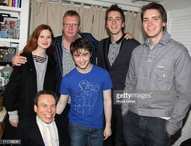 Bonnie Wright Warwick Davis Mark Williams Daniel Radcliffe James Phelps and Oliver Phelps pose backstage at the hit musical How to Succeed in...