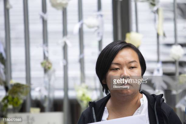 BonnieLeung vice convener of the Civil Human Rights Front attends a news conference outside the Central Government Offices in Hong Kong China on...