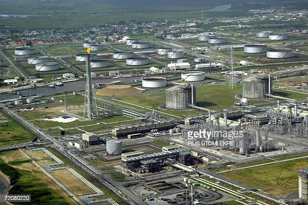 This file picture dated 18 May 2005 shows the oil major Shell's oil and gas terminal on Bonny Island in southern Nigeria's Niger Delta Authorities in...