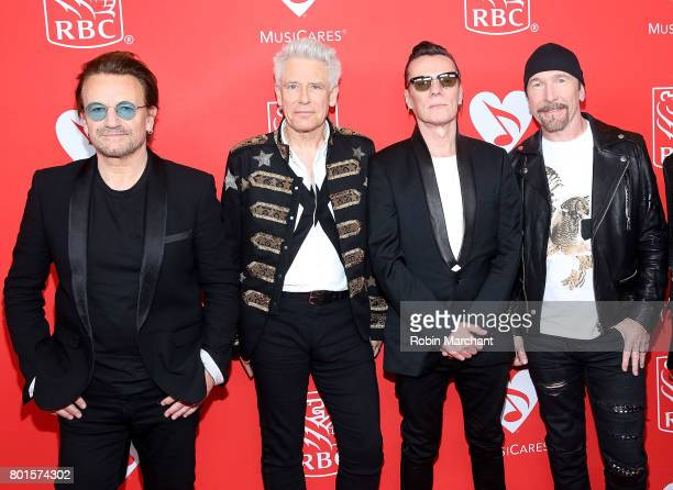 Bono Adam Clayton Larry Mullen and The Edge of U2 attend 13th Annual Musicares MAP Fund Benefit Concert Honoring Adam Clayton at PlayStation Theater...