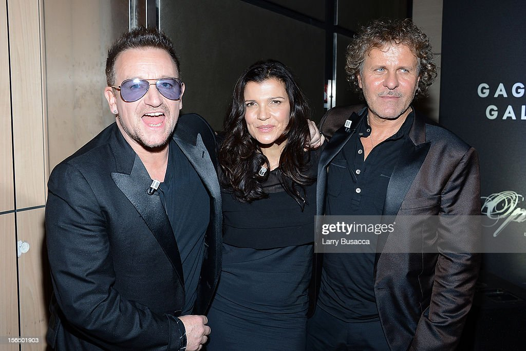 Bono, Alison Hewson and Renzo Rosso, Diesel Founder, attend the third day of the 2012 International Herald Tribune's Luxury Business Conference held at Rome Cavalieri on November 16, 2012 in Rome, Italy. The 12th annual IHT Luxury conference is the premier meeting point for the luxury industry. 500 delegates from 30 countries have gathered in Rome to hear from the world's most inspirational fashion designers and luxury business leaders.