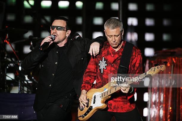Bono and Adam Clayton of U2 perform on stage at the first of three rescheduled Sydney dates on their Vertigo Tour at the Telstra Stadium on November...