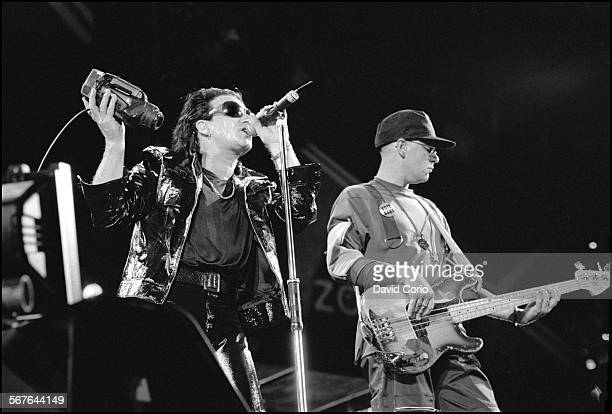 Bono and Adam Clayton of U2 performing at Giants Stadium New Jersey on 12 August 1992