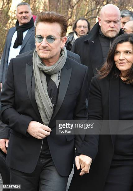 Bono and Ali Hewson attend the Dior Homme Menswear Fall/Winter 20172018 show as part of Paris Fashion Week on January 21 2017 in Paris France