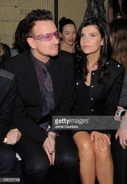 Bono and Ali Hewson attend the Edun Spring 2012 fashion show during MercedesBenz Fashion Week at 330 West Street on September 11 2011 in New York City
