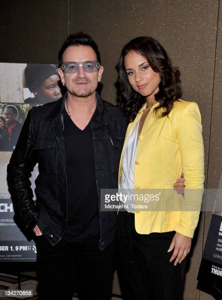 Bono and Alicia Keys attend the Keep A Child Alive with Alicia Keys premiere at the Tribeca Grand Screening Room on November 29 2011 in New York City