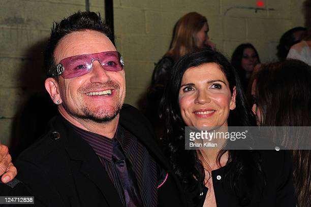 Bono and Alison Hewson attend the Edun Spring 2012 fashion show during MercedesBenz Fashion Week at 330 West Street on September 11 2011 in New York...