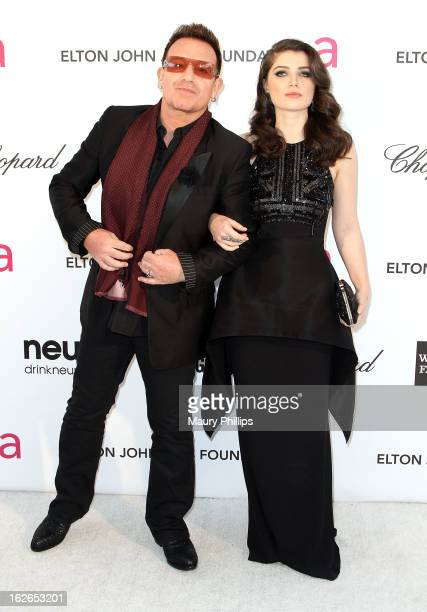 Bono and Eve Hewson arrive at the 21st Annual Elton John AIDS Foundation Academy Awards Viewing Party at Pacific Design Center on February 24 2013 in...