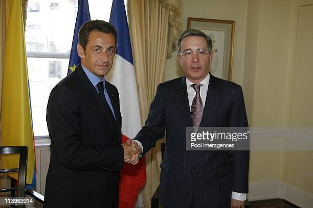 Bono and French President Nicolas Sarkozy delivers a speech at the United Nations in New York United States On September 20 2008French President...
