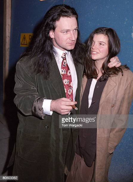 Bono and girlfriend Alison at Langan's Brasserie on February 2, 1989 in London, England.