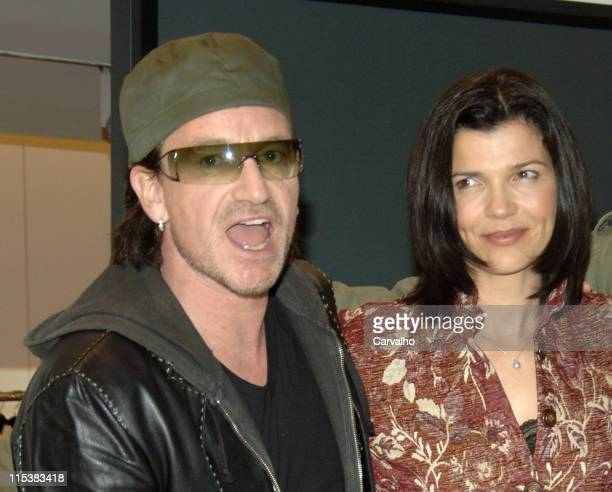 Bono and his wife Ali Hewson during Fall 2005 Edun Trunk Show with Bono Ali Hewson and Rogan at Barney's in New York City New York United States