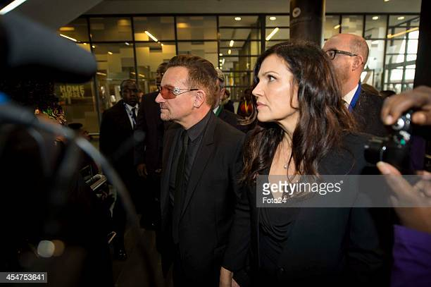 Bono and his wife at Nelson Mandela's public Memorial Service at the FNB stadium on December 10 in Johannesburg South Africa The Father of the Nation...