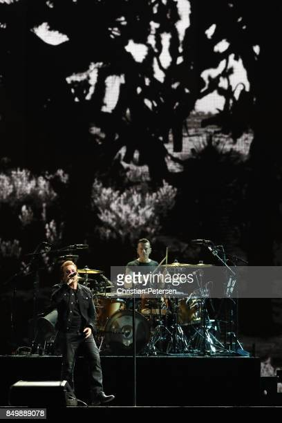 Bono and Larry Mullen Jr of U2 perform during The Joshua Tree Tour 2017 at University of Phoenix Stadium on September 19 2017 in Glendale Arizona