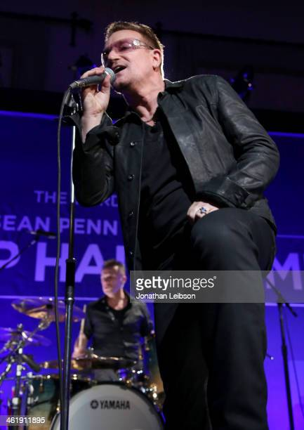 Bono and Larry Mullen Jr of U2 perform onstage during the 3rd annual Sean Penn Friends HELP HAITI HOME Gala benefiting J/P HRO presented by Giorgio...