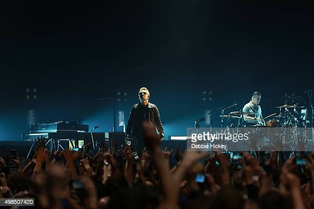 Bono and Larry Mullen Jr of U2 performs at 3 Arena on November 23 2015 in Dublin Ireland