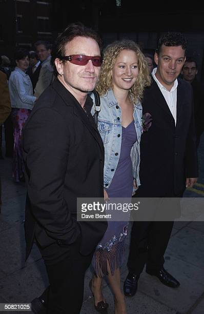 Bono and Lorraine Pilkington attend the UK Premiere of My Kingdom at The Odeon Cinema on September 23 2002 in London